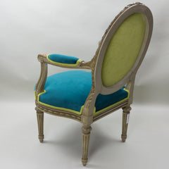 19th Century Louis XVI Arm Chairs with Cameo Backs Chair 2 Angle 4