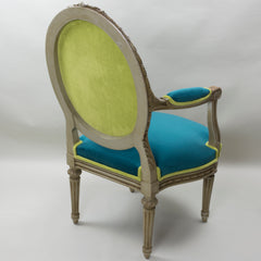 19th Century Louis XVI Arm Chairs with Cameo Backs Chair 3 Angle 3