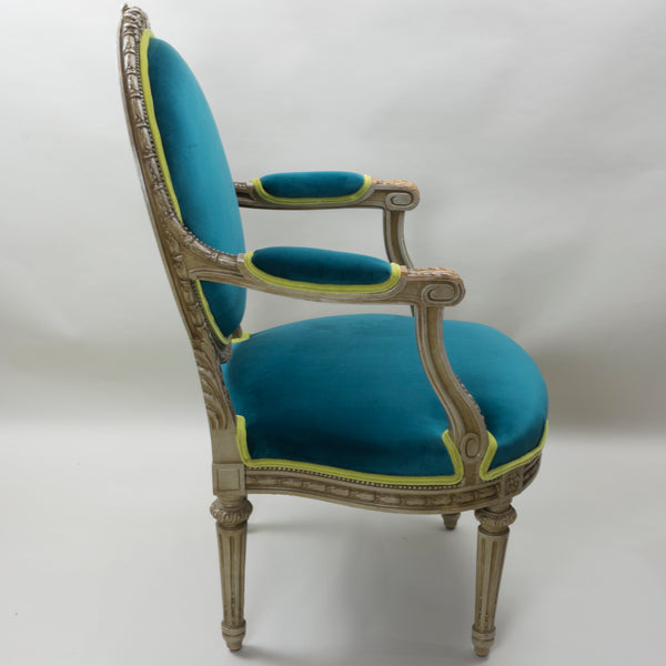 19th Century Louis XVI Arm Chairs with Cameo Backs Chair 3 Side
