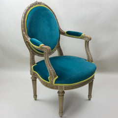19th Century Louis XVI Arm Chairs with Cameo Backs Chair 3 Angle 1