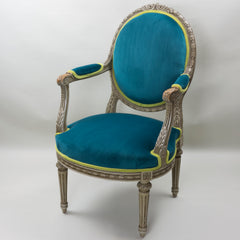 19th Century Louis XVI Arm Chairs with Cameo Backs Chair 3 Angle 6