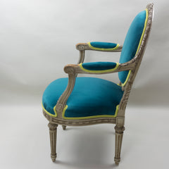 19th Century Louis XVI Arm Chairs with Cameo Backs Chair 3 Side 2