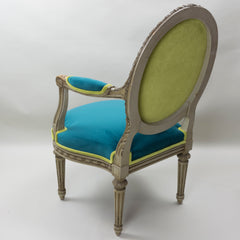 19th Century Louis XVI Arm Chairs with Cameo Backs Chair 3 Angle 5