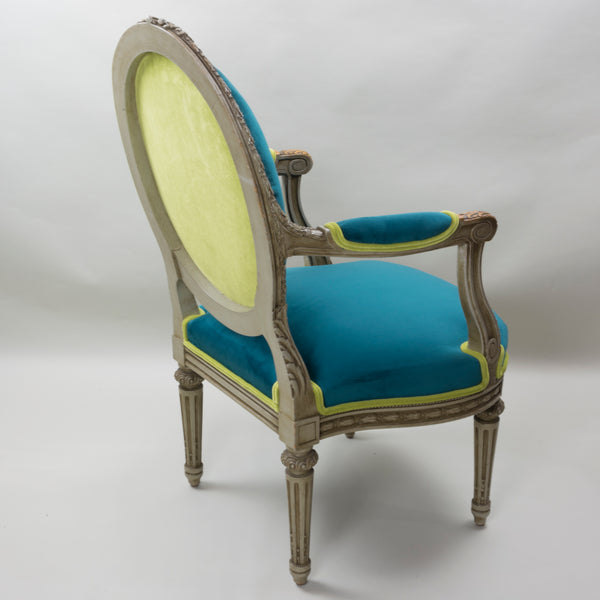 19th Century Louis XVI Arm Chairs with Cameo Backs Chair 4 Angle 3