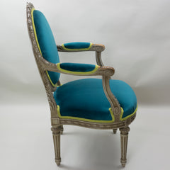 19th Century Louis XVI Arm Chairs with Cameo Backs Chair 4 Side