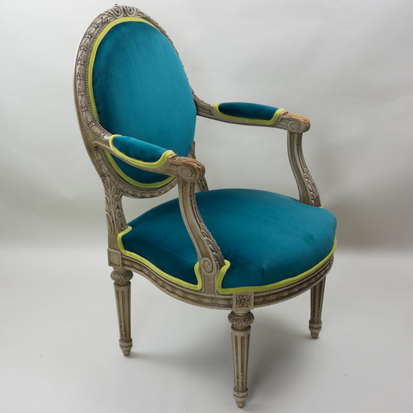19th Century Louis XVI Arm Chairs with Cameo Backs Chair 4 Angle 1