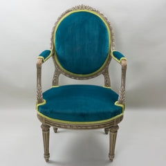 19th Century Louis XVI Arm Chairs with Cameo Backs Chair 2