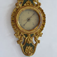 19th Century Louis XVI Gilt Wood Barometer and Thermometer Detail of Face