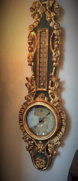 19th Century Louis XVI Gilt Wood Barometer and Thermometer Hanging in the shop in Belgium
