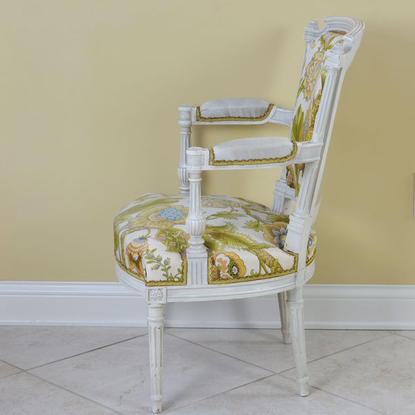 Louis XVI Style Side Arm Chair with Large Graphic Floral Print on White Background