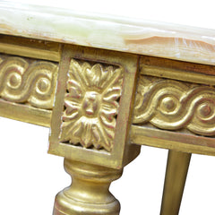 Louis XV Gilded Round Coffee Table with Agata Onyx Stone Top