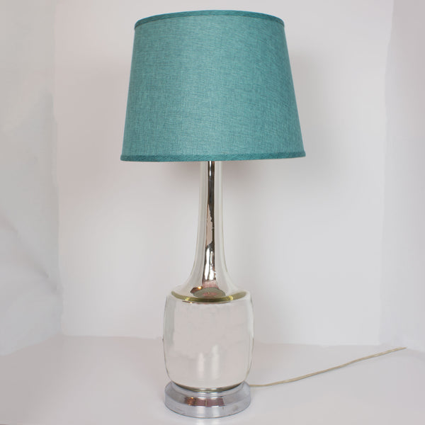 "Vintage Mercury 25"" Lamp with Teal Shade"
