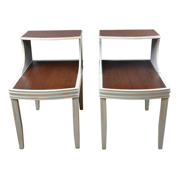 Mid-Century Modern End Tables Gray and Deep Brown, Pair