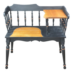 Gossip Bench Telephone Table Black Spindle Back Copper Accents