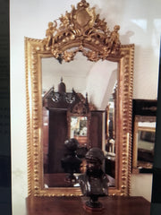 Rare Large French 19th Century Ornate Gilt Wood Carved Mirror European Antique Shop Where Found