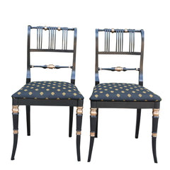 Antique French Empire Style Side Chairs Black and Gold Upholstery Pair