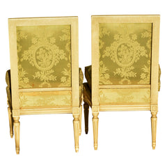 Pair of Antique Louis XVI Chair with Square Back
