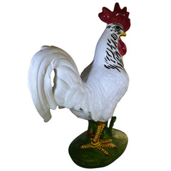 Vintage Pennsbury Pottery Rooster Figurine White Green Base
