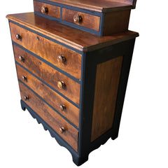 Antique Eastlake Solid Wood Dresser with Black Accents