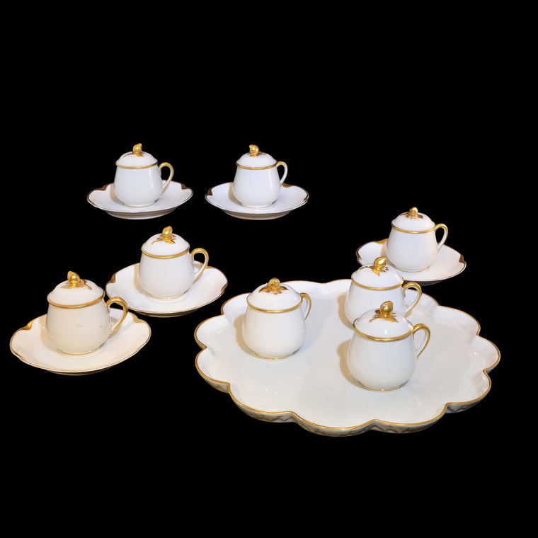 Limoges Pot D'crème Set Gold Rose Bud Lidded Cups with Tray