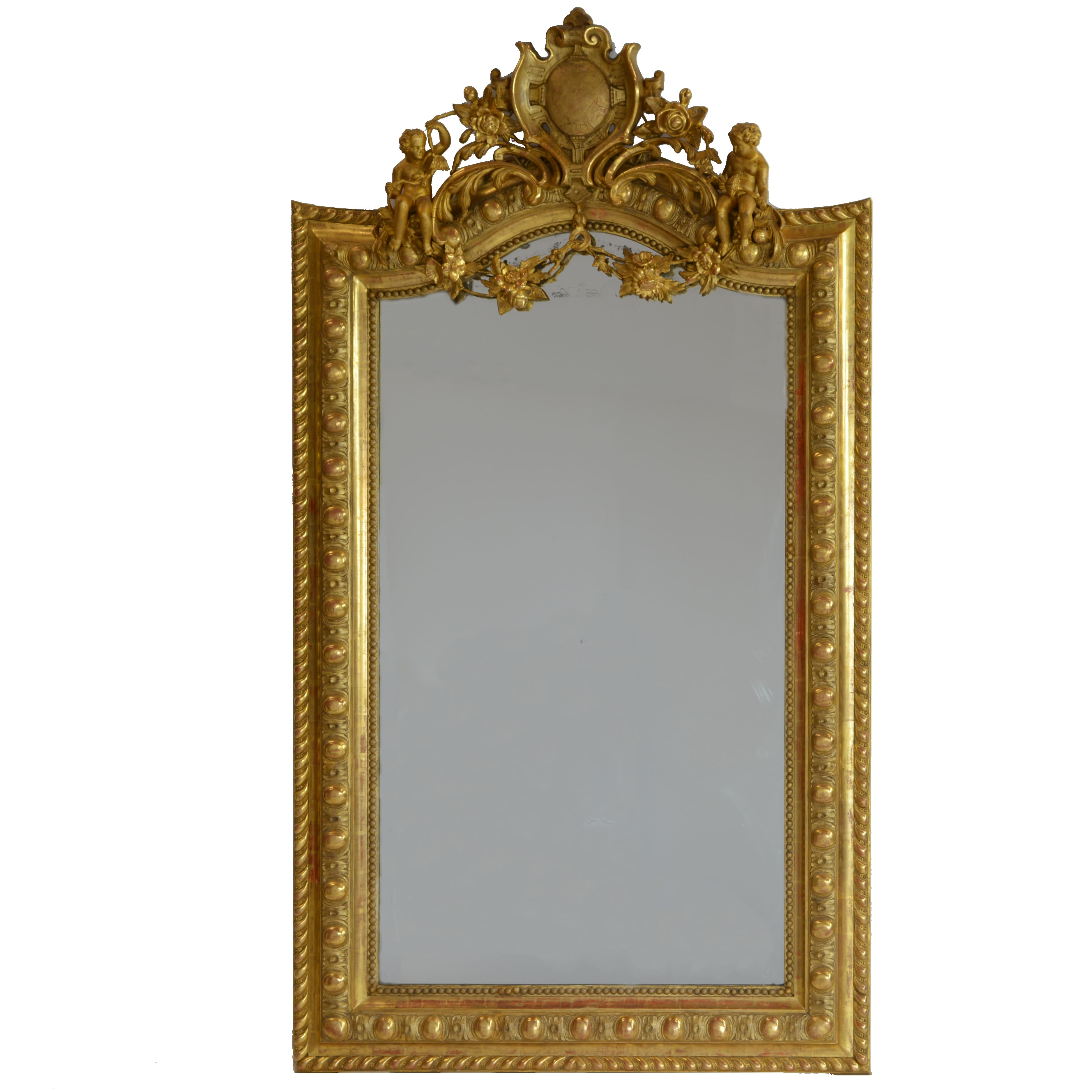 Rare Large French 19th Century Ornate Gilt Wood Carved Mirror