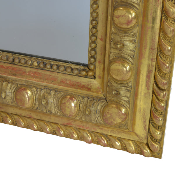 Rare Large French 19th Century Ornate Gilt Wood Carved Mirror Bottom Right Corner Detail