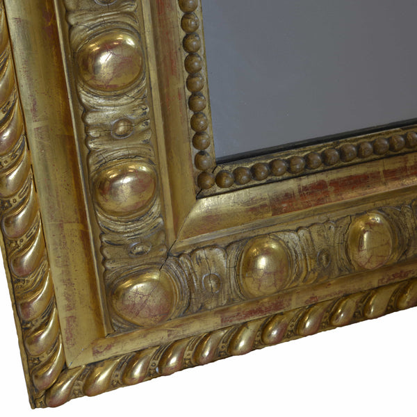 Rare Large French 19th Century Ornate Gilt Wood Carved Mirror Bottom Left Detail