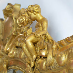 Rare Large French 19th Century Ornate Gilt Wood Carved Mirror Cherub Detail
