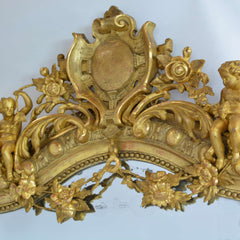 Rare Large French 19th Century Ornate Gilt Wood Carved Mirror Top Crest