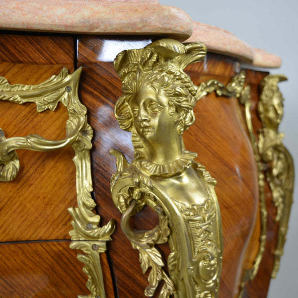 Rare Louis XV Stile Gilt Bronze Mounted Marquetry Commode Ormolu Detail