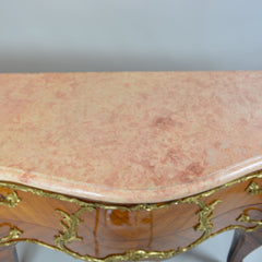Rare Louis XV Stile Gilt Bronze Mounted Marquetry Commode Marble Top