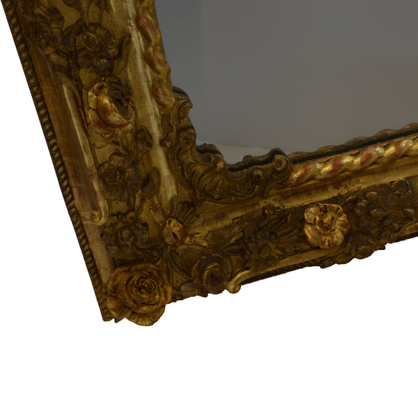 Rare Pair of Charles X Gilded Mirrors Bottom Corner Left