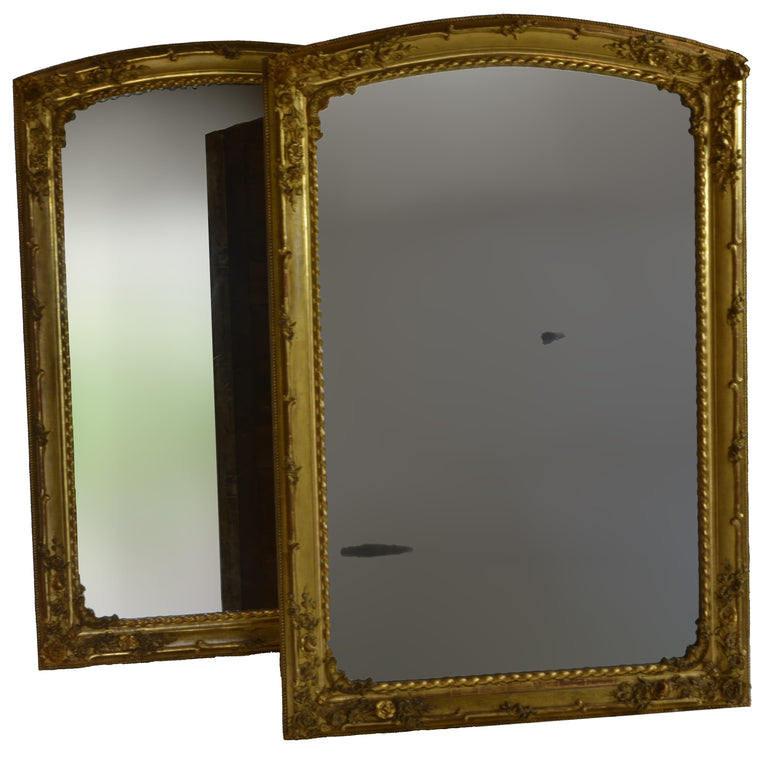 Rare Pair of Charles X Gilded Mirrors