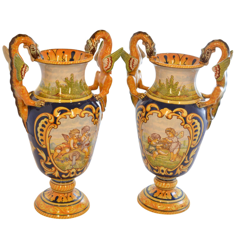 Antoine Montagnon Rouen Vases Hand Painted with Cherub Scene and Dragon Handles Pair