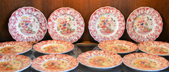 Royal Doulton Red Pomeroy Multi Color China Set European Finds Plates