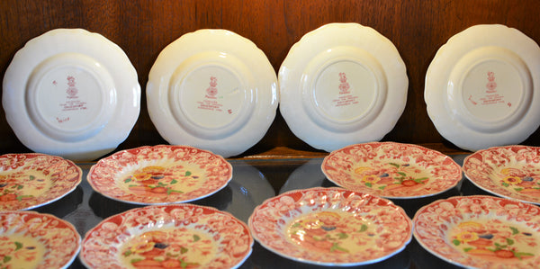 Royal Doulton Red Pomeroy Multi Color China Set European Finds Dinner Plate Backs