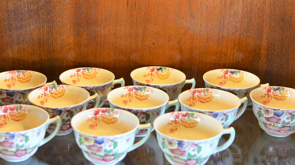 Royal Doulton Red Pomeroy Multi Color China Set European Finds Cups