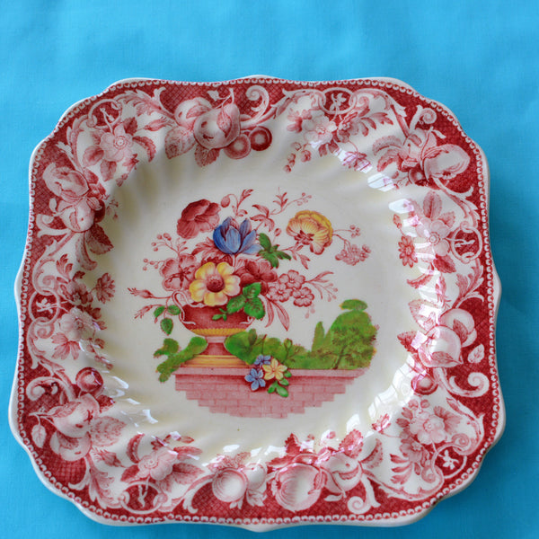 Royal Doulton Red Pomeroy Multi Color China Set European Finds Square Salad plate