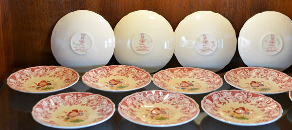 Royal Doulton Red Pomeroy Multi Color China Set European Finds Bread and Butter Plate Backs