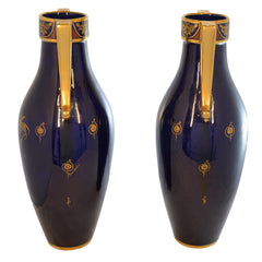 Tall Art Deco Maurice Pinon Cobalt Blue Gold Vases Signed Numbered
