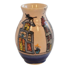 Small Bud Vase Dutch Canal Front Home Design Cat on Blue House