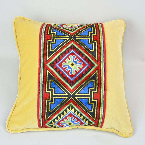 Tapestry Pillow European Finds 16 Sq Yellow