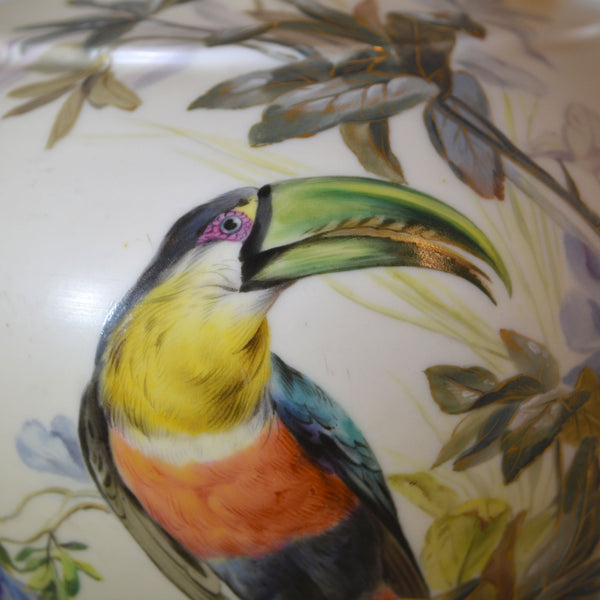 Tall Hand Painted Toucan Pitcher with Gold Details European Finds Detail