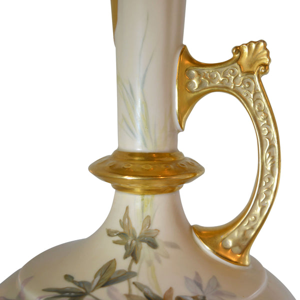 Tall Hand Painted Toucan Pitcher with Gold Details European Finds Handle