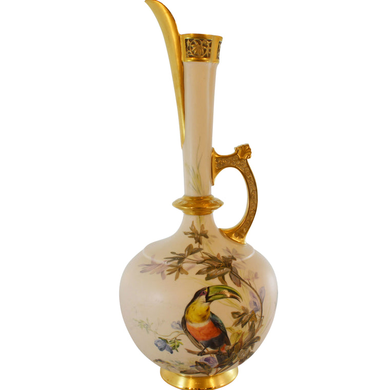 Tall Hand Painted Toucan Pitcher Ewer with Gold Details