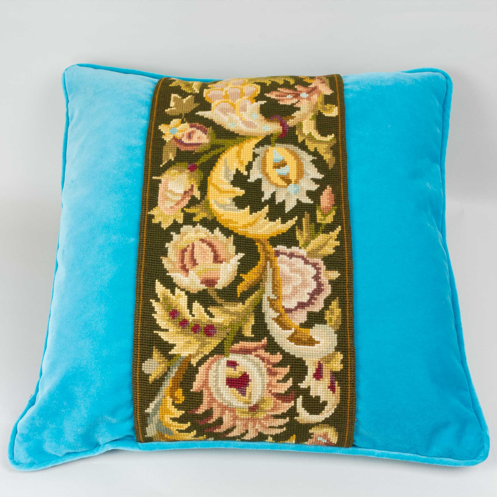 "Tapestry Pillow Brown Floral on Blue Velvet 20"" Sq"