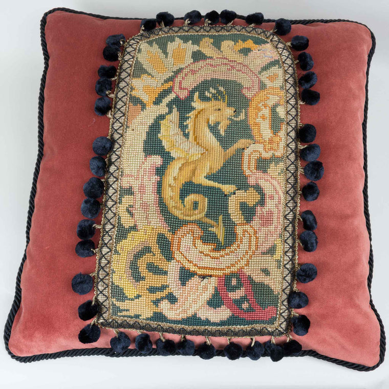 Tapestry Pillow Brown Griffin Velvet