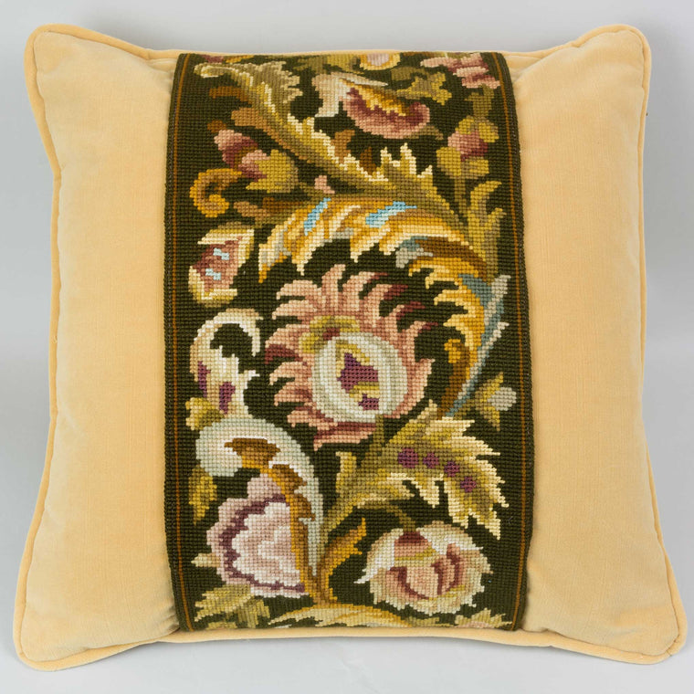 Tapestry Pillow Brown Floral on Yellow Velvet 18