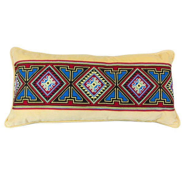 Tapestry Pillow European Finds 30x15 Yellow Velvet