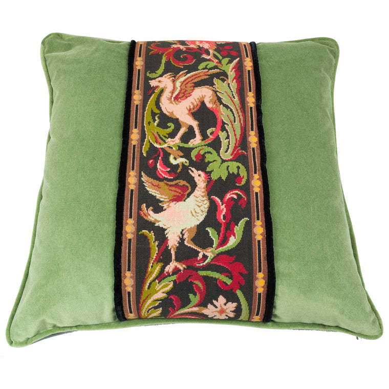 Tapestry Pillow Griffin Phoenix Green 22